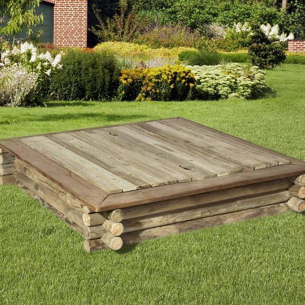 Holzabdeckung Sandkasten
