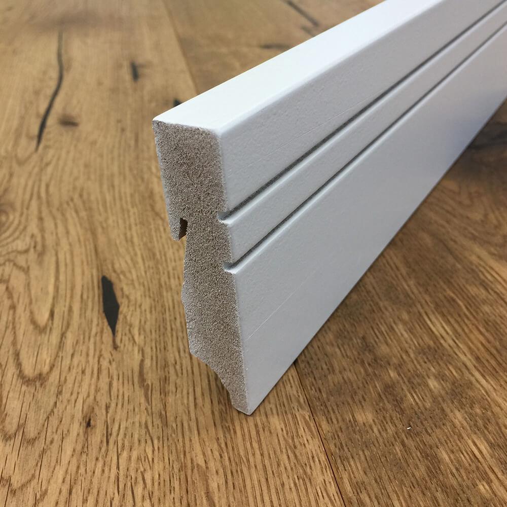 design sockelleiste mdf eckig wei lackiert 18 x 80 mm 240 cm a j holzzentrum online shop. Black Bedroom Furniture Sets. Home Design Ideas