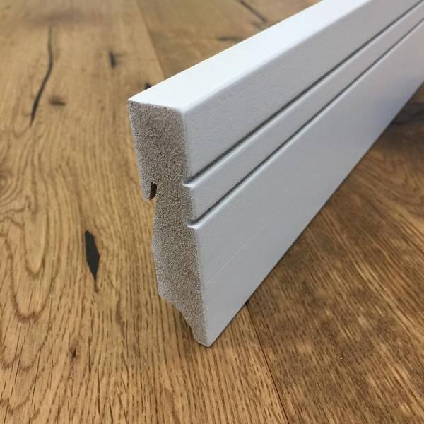 Beliebt Design Sockelleiste MDF eckig weiß lackiert, 18 x 80 mm / 240 cm DF23
